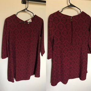 Short Red Dress with 3/4-Length Sleeves
